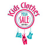 Sale label for clothing kids stores. Mega sale badge. Vector tag for print Royalty Free Stock Images