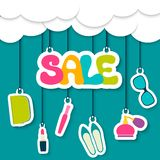 Sale label in the clouds Royalty Free Stock Photo
