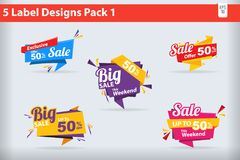 5 Sale Label Designs Banners, Stickers pack 1. Vector Illustration Royalty Free Stock Photography