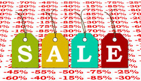 Sale label with discounts in percent advertising market. Royalty Free Stock Image
