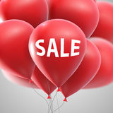 Sale label and flying balloon bunch Stock Images