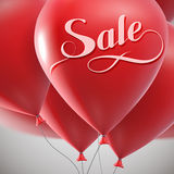 Sale label and flying balloon bunch. Royalty Free Stock Photos