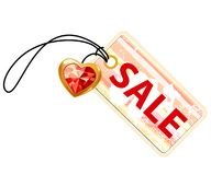 Sale label with gold heart Stock Image