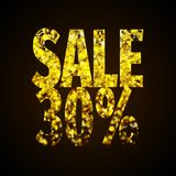 Sale label gold holiday poster - Illustration for black friday - black anf gold. Glitter numbers - sale percentage vector illustration