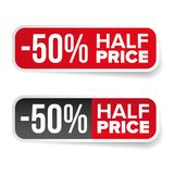 Sale label half price sticker Royalty Free Stock Image