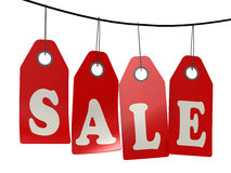 Sale label hanging from top Royalty Free Stock Images