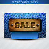 Sale label of leather and jeans Stock Photo