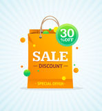 Sale Label Paper Bag. Vector Stock Image