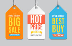 Sale Label Paper Tag Hanging Set. Vector Royalty Free Stock Image