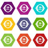 Sale label 50 percent off discount icon set color hexahedron. Sale label 50 percent off discount icon set many color hexahedron isolated on white vector stock illustration