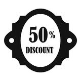 Sale label 50 percent off discount icon. Simple illustration of sale label 50 percent off discount vector icon for web Royalty Free Stock Photos