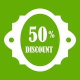 Sale label 50 percent off discount icon green. Sale label 50 percent off discount icon white isolated on green background. Vector illustration Stock Photography