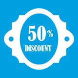 Sale label 50 percent off discount icon white. Isolated on blue background vector illustration Royalty Free Stock Photos