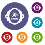 Sale label 50 percent off discount icons set. In flat circle reb, blue and green color for web Stock Image