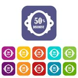 Sale label 50 percent off discount icons set. Vector illustration in flat style in colors red, blue, green, and other Royalty Free Stock Images