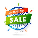 Sale label or poster design with Ashoka Wheel and 30-80% discoun. T offer for 26 January Sale stock illustration