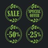 Sale label price tag banner badge in flora design Stock Photos