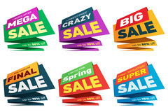 Sale label price tag banner badge template sticker design. Stock Photos