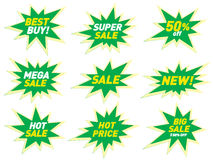 Sale label price tag banner star badge template sticker design. Royalty Free Stock Photo