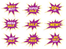 Sale label price tag banner star badge template sticker design. Royalty Free Stock Image