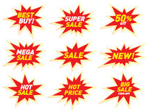 Sale label price tag banner star badge template sticker design. Royalty Free Stock Photography
