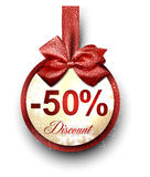 Sale label with red gift bow. Stock Image