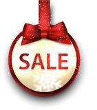Sale label with red gift bow. Stock Images