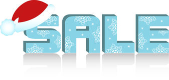Sale label with santa's hat Stock Images