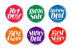 Sale label set. Hot deal, best choice, seller icon or symbol. Handwritten lettering, calligraphy vector illustration Royalty Free Stock Image