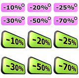 Sale label sets. Different label sets, purple and green, easy to use for products and services promotion Stock Photo