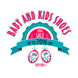 Sale label for shoes kids stores. Mega sale badge. Vector tag for print Stock Photography