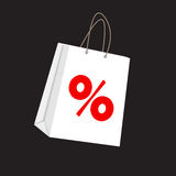 Sale Label on Shopping Bag . Vector Illustration Royalty Free Stock Photo