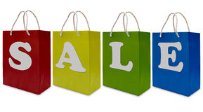 Sale label on shopping  paper bag Royalty Free Stock Photo