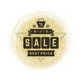 Sale Label or Tag Design on Gold Background Vector Vintage. Stock Images