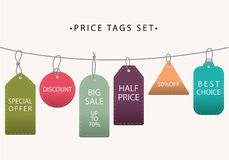Sale Label Tags Vector. Label tags with different shape hanging on a string royalty free illustration