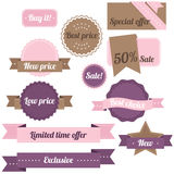 Sale labels. Purple and pink set of sale labels Royalty Free Stock Images