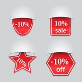 Sale labels. Set of four red labels with holiday discount Stock Photography