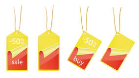 Sale labels - 50% OFF. Labels on paper golden style  for promotion Royalty Free Stock Photo
