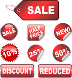 Sale labels. Various discount stickers and labels Stock Image