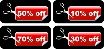 Sale labels. Four sale labels glossy styled Stock Image