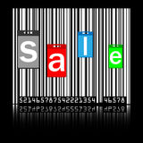 Sale labels on barcode. Sale labels on white barcode Royalty Free Stock Photo