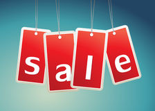 Sale labels on blue background. Stock Photography