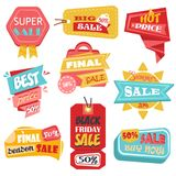 Discount tags or labels, stickers with price. Sale labels with discount prices for black friday or closeout, final sale promotion. Tags or product labels Stock Image