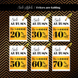 Sale labels on golden geometric background Stock Image