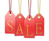 Sale labels hanging, isolated on white background Stock Images