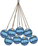 Sale labels made of jeans. Tags like Christmas balls. Vector illustration Stock Image