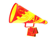 Sale labels and megaphone Stock Photo