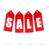 Sale Labels On Rope Royalty Free Stock Image