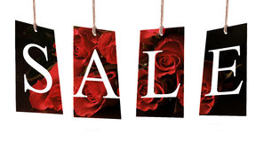 Sale labels on rose background Royalty Free Stock Photo