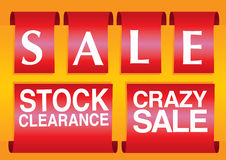 Sale labels with a sale message. Vector illustration. Royalty Free Stock Photography